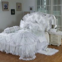 Luxury White Lace Design Romantic Wedding Themed Noble Excellence Ruffle Girly Twin, Full, Queen Size Bedding Sets