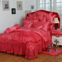 Noble Excellence Crimson Red Vintage Lace Design Feminine Feel Ruffle Sophisticated Elegant Twin, Full, Queen Size Bedding Sets