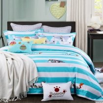 Aqua Black and White Penguin and Rugby Stripe Print Modern Chic Funny Style Hipster Twin, Full Size Bedding Sets