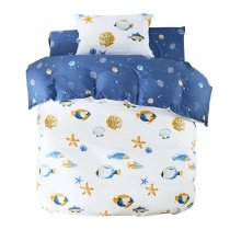 Boys Blue Yellow and White Fish, Seashell and Sea Star Print Tropical Ocean Themed Twin, Full, Queen Size Bedding Sets