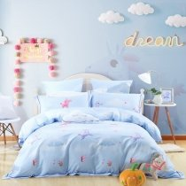 Cute Horse and Cloud Print Cartoon Themed Funky Kids Twin, Full, Queen Size Bedding Sets Sky Blue Pink and Purple