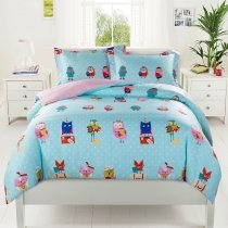 Kids Cute Animal Owl Print Cartoon Themed Stylish Twin, Full Size Bedding Sets in Red Blue Pink and Green