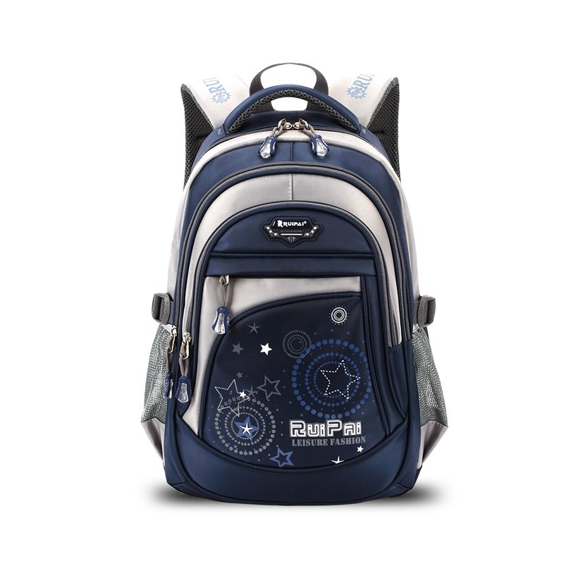 1b259ff46946 Royal Blue and Silver Polyester Boys Pupil School Book Bag Hippie Style  Monogrammed Star Circle Print Campus Backpack
