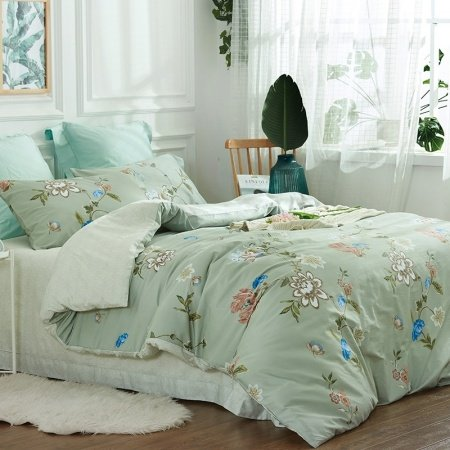 Mint Green Brown Blue And White Wildflower Print French
