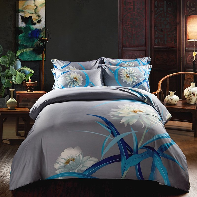 peacock blue white and gray wildflower print vintage rustic chic fancy and unique full queen. Black Bedroom Furniture Sets. Home Design Ideas