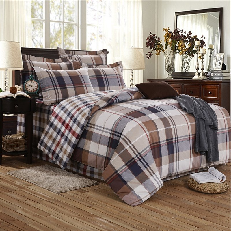 Beige And Coffee Plaid Print Linen Contemporary Bedroom: Taupe Brown Black Beige And Khaki Madras Plaid Print