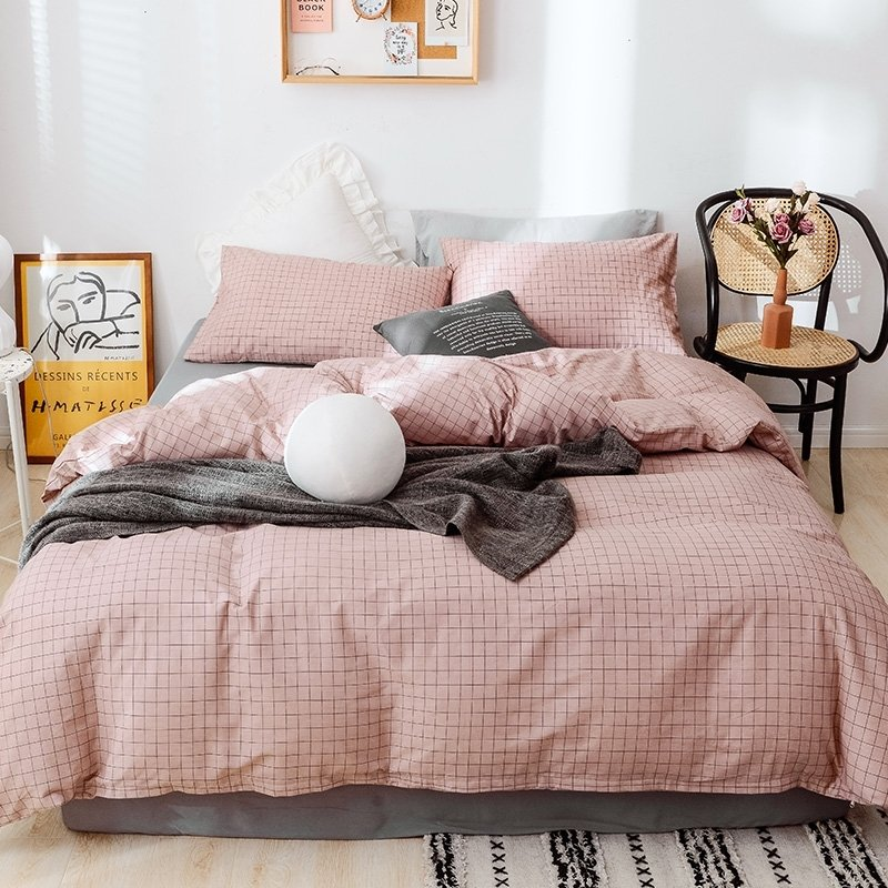 Dusty Pink Grid Print Soft Trendy, Trendy Bedding Sets