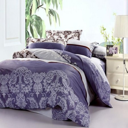 Dark Blue and White Baroque Style Vintage Indian Pattern 100% Cotton Full Size Bedding Sets