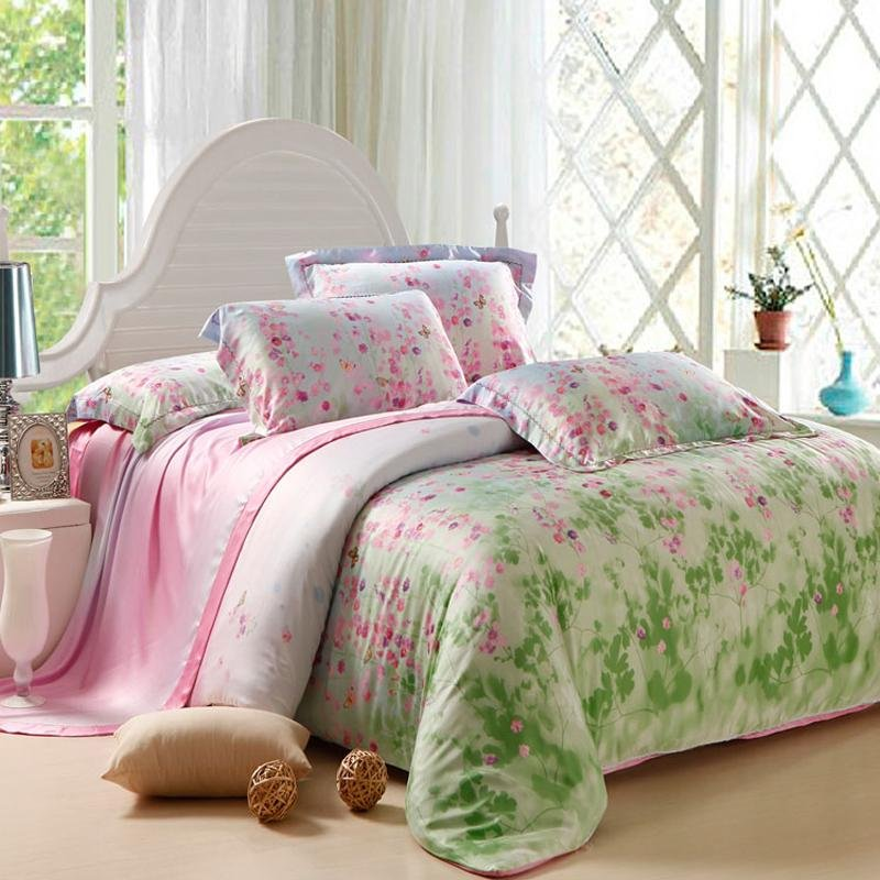 Lime Green And Pink Fairy Garden Images Fl Print Soft 100 Tencel Lyocell Full Queen Size Bedding Sets