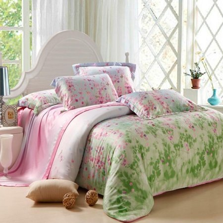 Lime Green and Pink Fairy Garden Images Floral Print Soft 100% Tencel Lyocell Full, Queen Size Bedding Sets