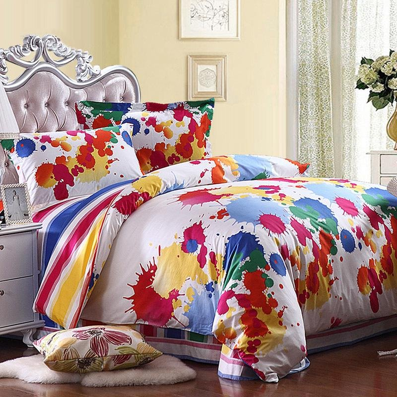 Yellow Red Blue and White Colorful Splatter Paint Bohemian Chic Graffiti Print Full, Queen Size Bedding Sets