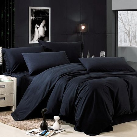Luxury All Black Solid Pure Color Simply Shabby Chic Damask Full, Queen Size Bedding Sets