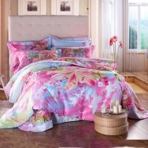 Aqua Blue Green and Pink Asian Lily Blossom Print Girls Bedroom Full, Queen Size Bedding Sets