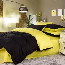 Luxury Black and Lemon Yellow Solid Pure Color Simply Shabby Chic Unique Adults Full, Queen Size Bedding Sets