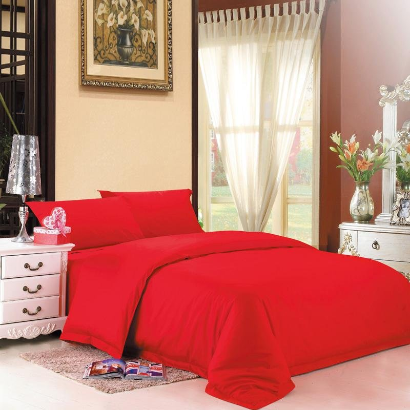 Shabby Chic Bedrooms Adults: Solid Red Pure Color Simply Shabby Chic Full, Queen Size