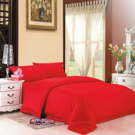 Solid Red Pure Color Simply Shabby Chic Full, Queen Size Adults Unique 100% Cotton Bedding Sets