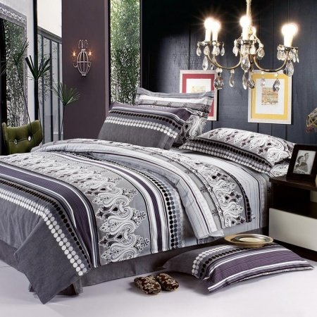 Black Grey and White Bohemian Chic Paisley Park and Polka Dots Print Full, Queen Size Boys Bedding Sets