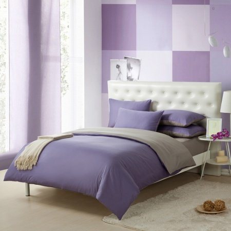 Violet Purple and Gray Solid Pure Color Simply Shabby Chic Full, Queen Size Kids Boys Bedding Sets
