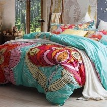 Aqua Blue and Red Abstract Large Floral Print 100% Cotton Full, Queen Size Bedding Duvet Cover Sets