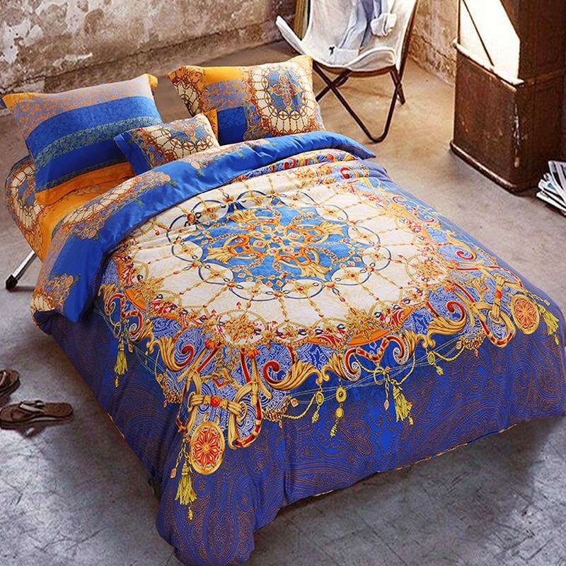 Orange And Royal Blue Bohemian Tribal Style Unique Pattern