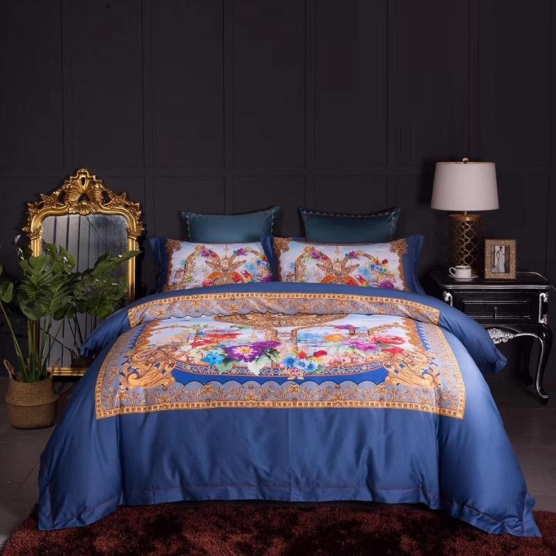 Orange and Royal Blue Bohemian Tribal Style Unique Pattern Design Luxury Egyptian Cotton Full, Queen Size Bedding Sets