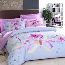 Purple and Sky Blue Flower Print Rustic Chic Fresh World 100% Cotton Full, Queen Size Bedding Duvet Cover Sets