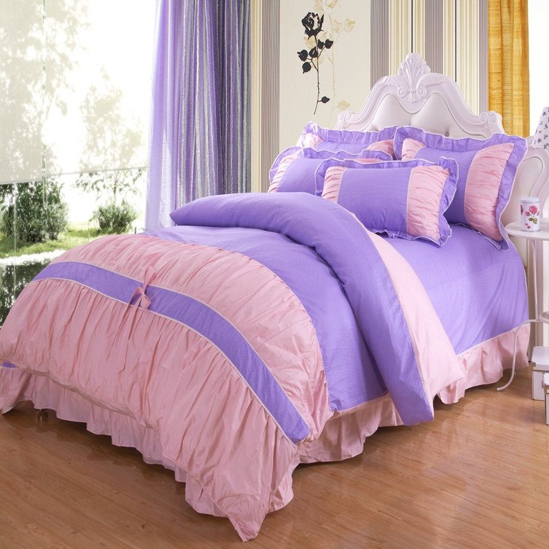Purple and Pink Girls Princess Style Theme Cute Polka Dots Design Vogue Ruffled 100% Cotton Full, Queen Size Bedding Sets