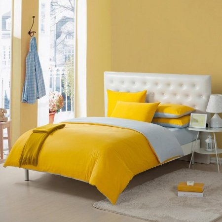 Bright Lemon Yellow and Grey Solid Pure Color Simply Modern Chic Full, Queen Size Kids Bedroom Bedding Sets