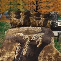 Chocolate Brown and Light Tan Safari Animal Themed Leopard, Cheetah Print Kids Full Size 100% Cotton Bedding Sets