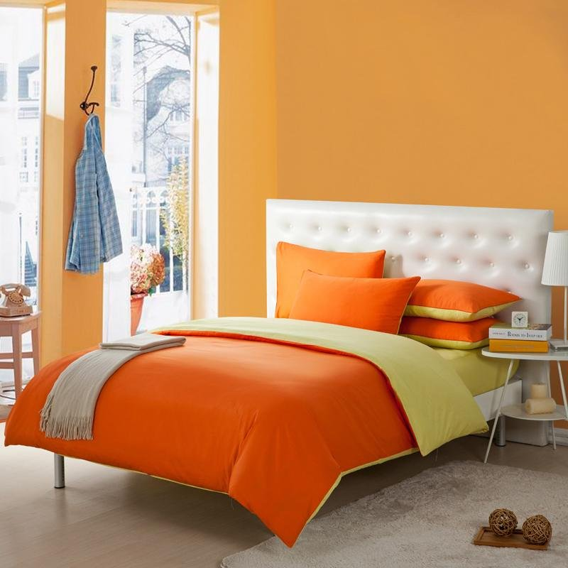 Orange and Yellow Solid Pure Color Simply Chic Full, Queen Size 100% Organic Cotton Bedding Sets