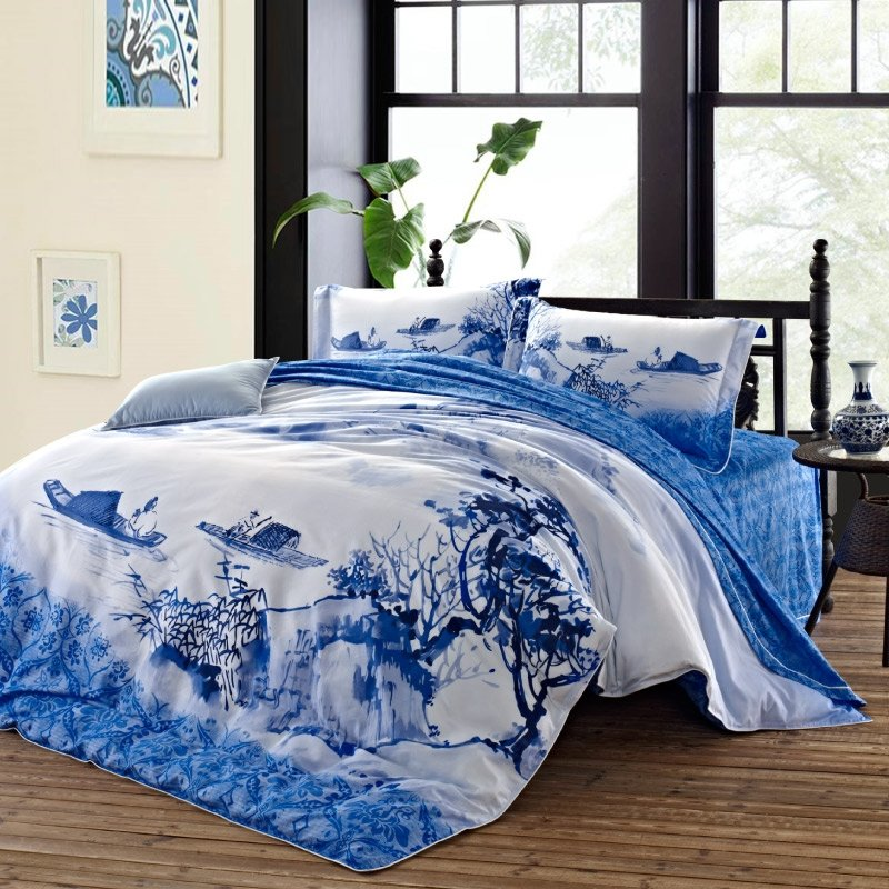 Blue and White Unique Natural Scenery Fresh World Boat in River Rustic Chic Full, Queen Size Bedding Sets