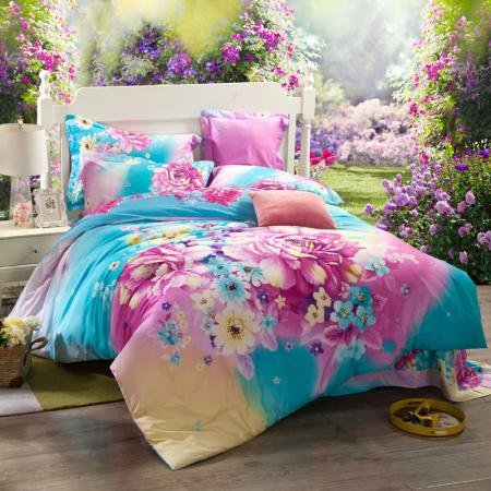 Bright Colorful Butterfly in Flower Garden Cute Asian Inspired Teen Girls Full, Queen Size Bedding Duvet Cover Sets