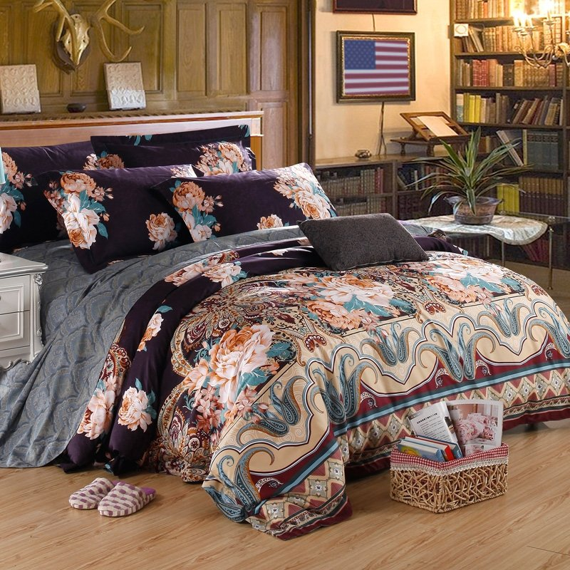 Dark Blue Beige and Brown Paisley Park Indian Tribal Flower Retro Bohemian Style 100% Egyptian Cotton Full, Queen Size Bedding Sets