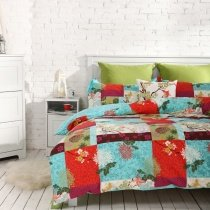 Aqua Blue Red and Green Traditional Tribal Plaid and Antique Flower 100% Cotton Full, Queen Size Bedding Sets