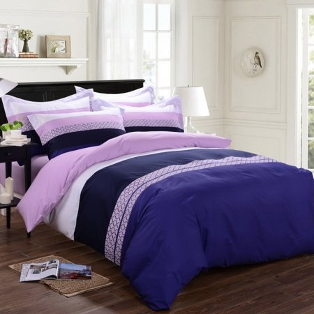 blue pink and white modern wide stripes print 100 cotton full queen size bedding sets. Black Bedroom Furniture Sets. Home Design Ideas