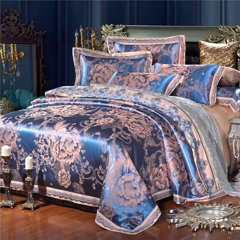 Cotton Satin Full Queen Size Bedding, Royal Blue Queen Bed Sheets