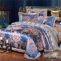 Royal Blue and Gold Royal Wedding Themed Vintage Floral 100% Cotton Satin Full, Queen Size Bedding Sets