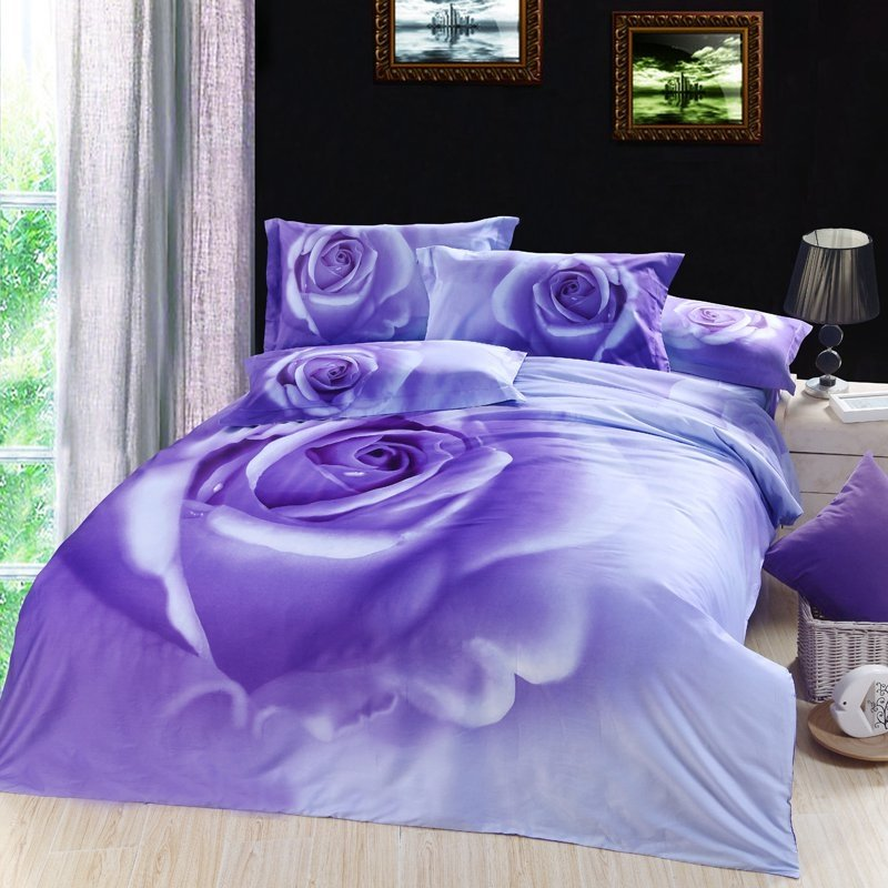 Purple and Blue Rose Print Antique Country Chic Full Size Girls Princess Bedroom 100% Cotton Bedding Sets