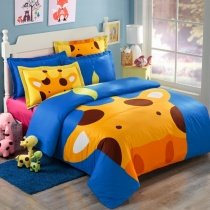 Orange Blue and Brown Cartoon Giraffe Print Jungle Safari Animal Kids and Teen 100% Cotton Twin, Full Size Bedding Sets