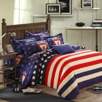 Navy Blue White and Red American Flag The Star and The Stripes Personalized Traditional Full, Queen Size 100% Brushed Cotton Bedding Sets