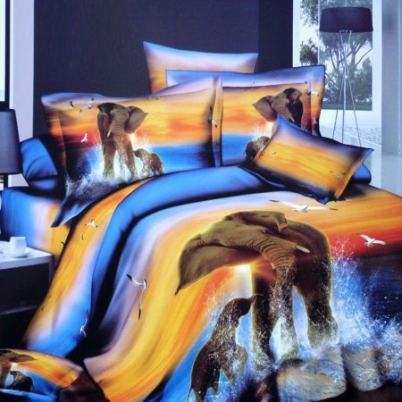 Royal Blue and Sunset Orange Elephant and Sea Gull Print Wild Animal Themed Ocean Scene in Dust Full Size 3D Design Bedding Sets