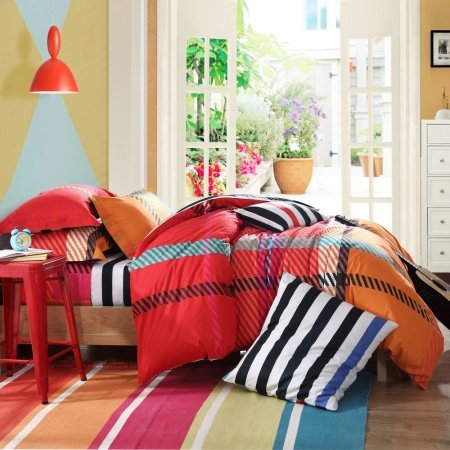 Rust Red and Orange Diagonal Stripes and Plaid Print Contemporary Modern European Style Full, Queen Size Bedding Sets