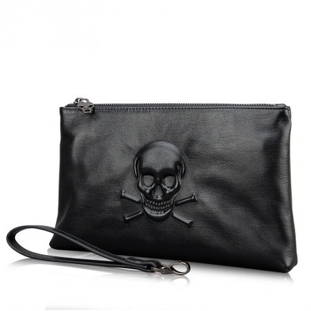 Luxury Plain Black Embossed Cowhide Genuine Leather Handle Bag Personalized Skull American Style Casual Men Small Clutch Bag