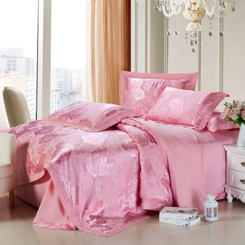 Solid Pink Pure Color Country Rose Print Girls Luxury Jacquard Design Damask Full, Queen Size Bedding Sets
