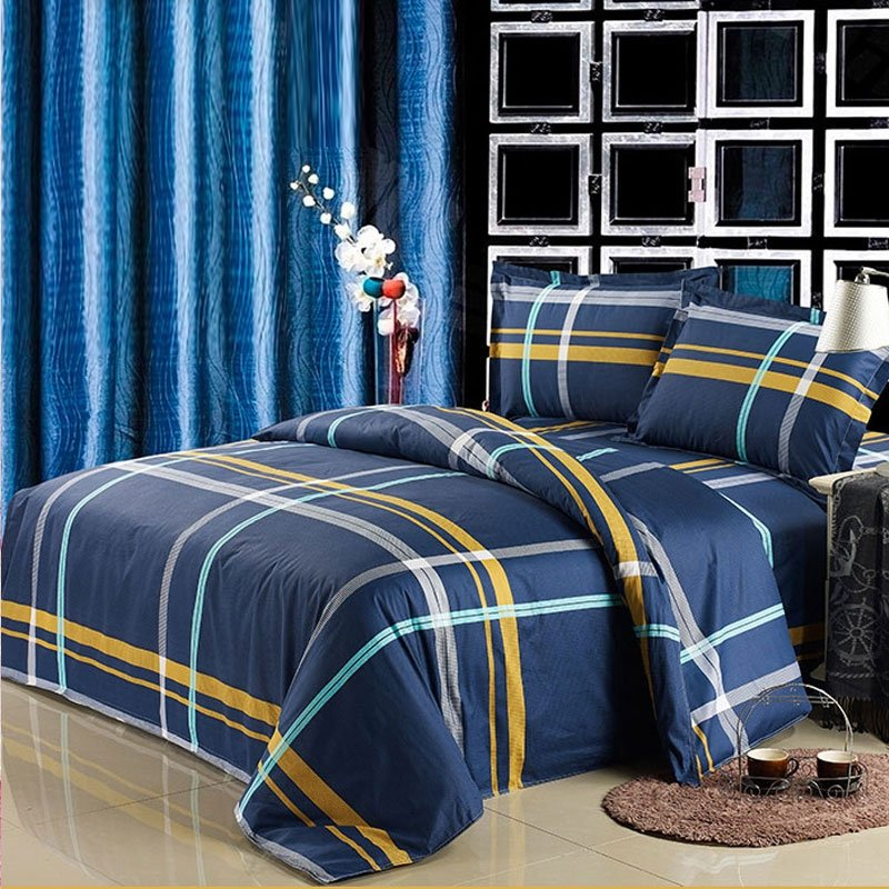 Navy Blue and Yellow Boys Cheap Tartan Plaid Print Traditional Simply Chic Cool Color 100% Cotton Full, Queen Size Bedding Sets