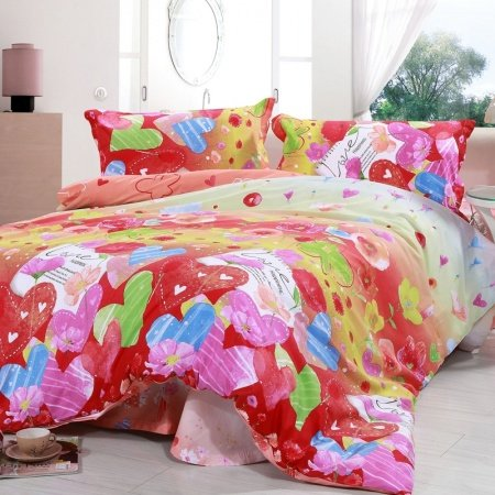 Red Pink Green and Blue Love Heart Shaped Balloon Holiday Style Fashion Cute Style Cartoon Girls 100% Cotton Full Size Bedding Sets