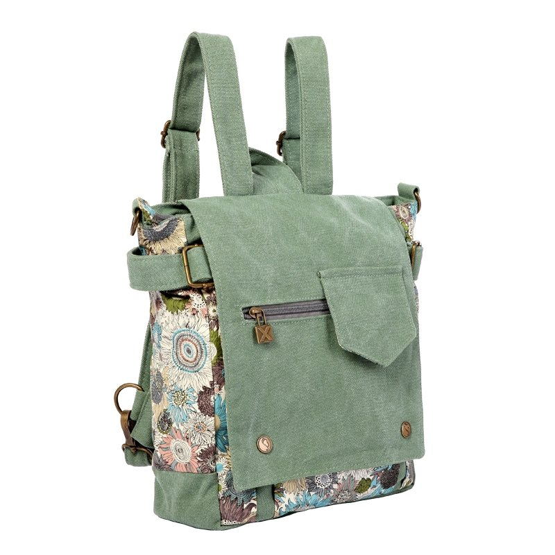 MInt Green and Canvas White Flower Floral Print Casual Hip-Hop Rock and Roll Style Teenage Girls Medium Take Cover Crossbody Bag Backpack