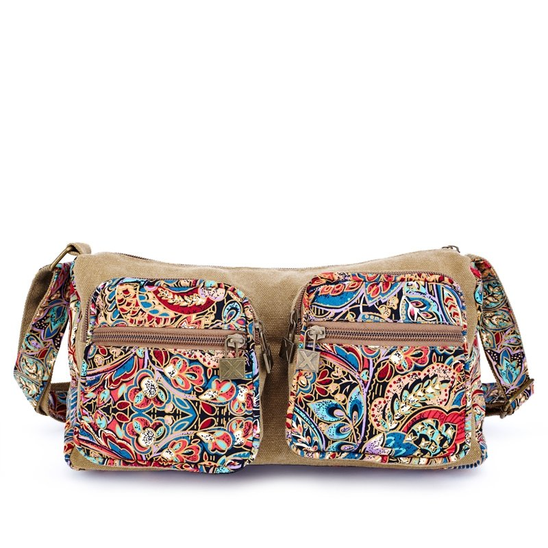 Coffee Brown Red and Blue Bohemian Chic Retro Western Style Flower and Tribal Print Casual Medium Women Canvas Single Shoulder Crossbody Bag