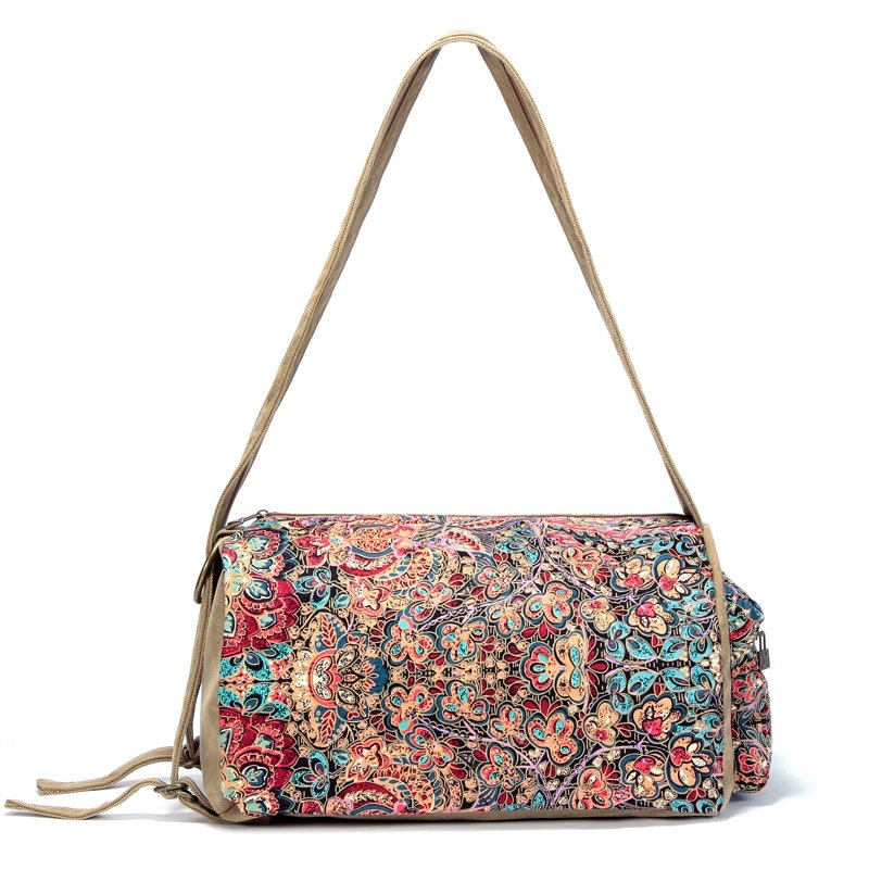 Khaki Brown Red and Turquoise Western Mediterranean Style Retro Bohemian Tribal Floral Women Medium Bucket Shaped Travel Bag Crossbody Bag