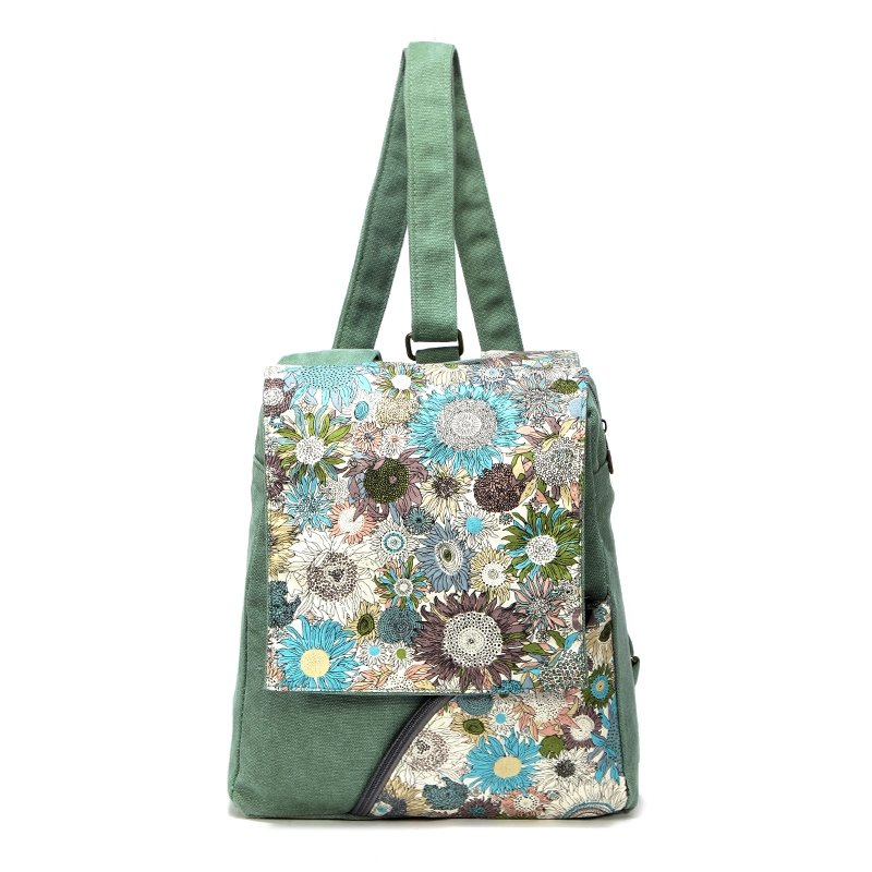 Sea Green White and Brown Abstract Chic Western National Style Chrysanthemum Flower Print Canvas Women Medium Backpack Take Cover Travel Bag
